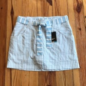 NWT Nike Golf Blue and White Stripe Skort Skirt 10